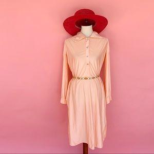 Vtg 70s Peachy Oversized Collar Shift Dress S M